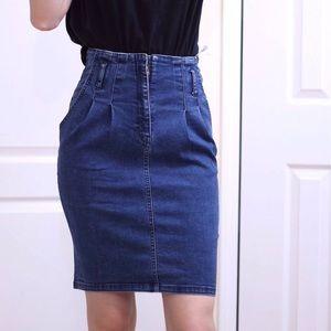 Vintage  high waisted denim skirt